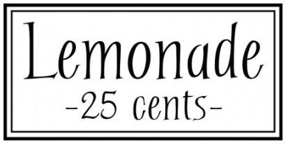 Lemonade 25 cents wallsticker wallstickers