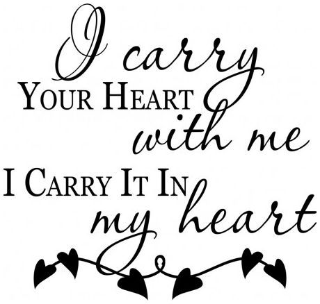 I carry your heart with me in my heart wallsticker wallstickers