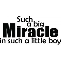 Such a big miracle in such a little boy wallsticker