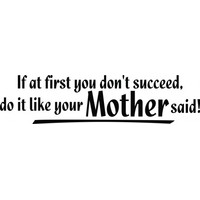 If at first you dont succeed do it like your mother said