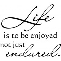 Life is to be enjoyed not just endured wallsticker