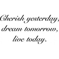 Cherish yesterday dream tomorrow live today wallsticker